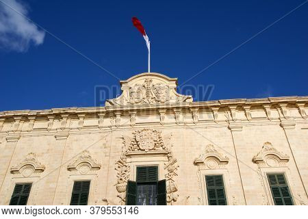 Valletta, Malta - Dec 31st, 2019: Roof Of The Auberge De Castille Now Office Of The Prime Minister O