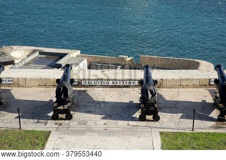 Valletta, Malta - Dec 31st, 2019: Saluting Battery Is An Artillery Battery Located Below The Upper B