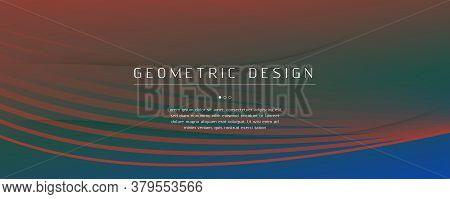 Fluid Geometric Abstract. Wave Futuristic Shapes Movement. Blue Digital Pattern. Memphis Gradient We