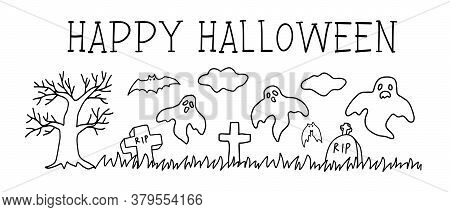 Halloween Cemetery. Happy Halloween Party Invitation Background. Black And White Cemetery Vector Ill