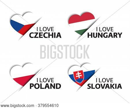 Set Of Four Czech, Hungarian, Polish And Slovak Heart Shaped Stickers. I Love Czech Republic, Hungar