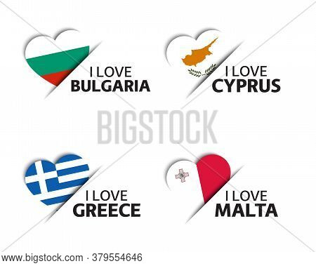 Set Of Four Bulgarian, Cyprus, Greek And Malta Heart Shaped Stickers. Made In Bulgary, Cyprus, Greec