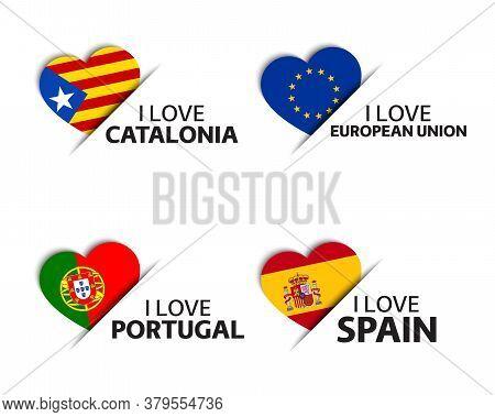 Set Of Four Catalonia, European Union, Portuguese And Spanish Heart Shaped Stickers. I Love Cataloni