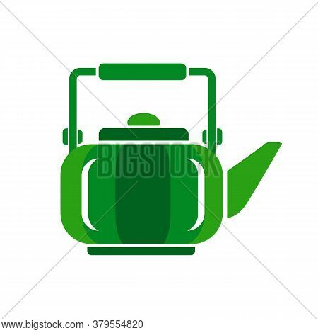 Teapot Steel Vector Icon Flat Style. Green Kettle On Isolated Background. Warm Comfort In Your Home.