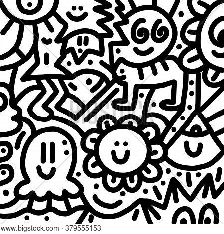 Abstract Decorative Doodles Pattern. Hand-drawn Vector Black And White Illustration.
