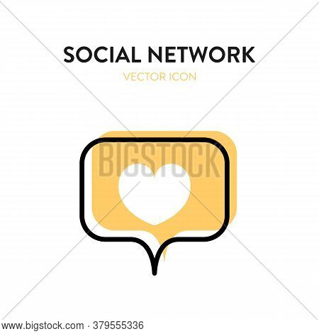 Social Network Icon. Vector Illustration Of Message Bubble With Heart Symbol On It. Rerpresents Conc