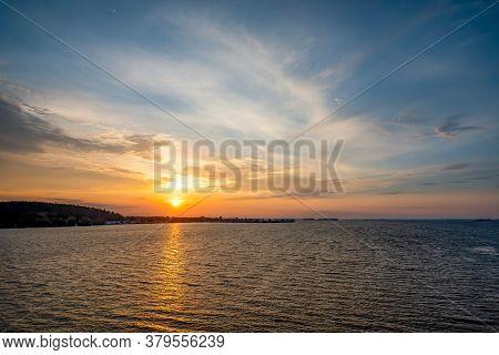 Beautiful Sunset Over Dnieper River Near Cherkasy, Ukraine