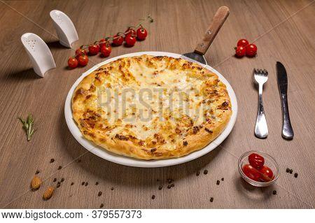 Megrelian Khachapuri Adyghe Cheese, Suluguni Butter Fork Spoon Salt Shaker Pepper Shaker,