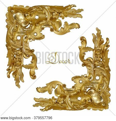 Part (corner) Of Old Golden Frame For Paintings, Mirrors Or Photo Isolated On White Background. Desi