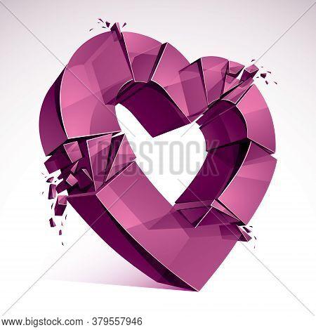 Breakup Concept Of Broken Heart, 3d Realistic Vector Illustration Of Heart Symbol Exploding To Piece