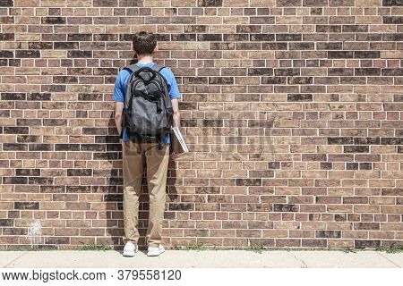 Student blending into brick wall, an anonymous educational commodity