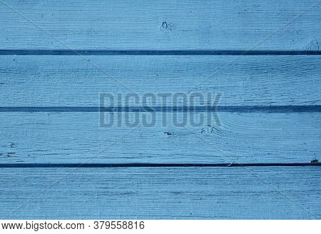 Blue Bright Colored Old Vintage Wood With Horizontal Boards. Grunge Wooden Background. Shabby Chic F