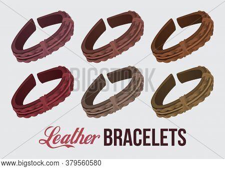 Classic Vintage Leather Handmade Realistic Bracelets Set. Wrist Vector Accessories. Design For Print