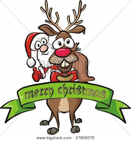 santa on reindeer - christmas greetings