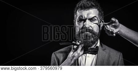 Barber Scissors And Straight Razor, Barber Shop. Copy Space. Beard Care. Bearded Client Visiting Bar