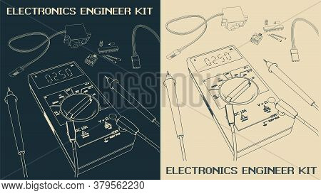 Electronics Components Set Drawings