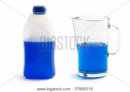 Liquid Screenwash In Plastic Bottle And Glass Jug