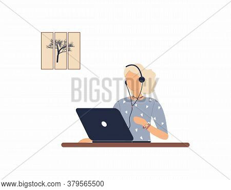 Girl Tutor With Headphones Work On Laptop.remote Work, Distance Learning Or Online Training During T