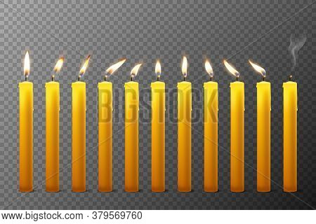 Vector 3d Realistic Orange Paraffin Or Wax Burning Candles With Different Flame Icon Set Closeup Iso