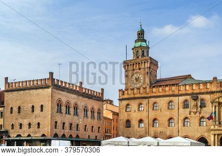 Cclock Tower Of Palazzo D'accursio Is A Palace In Bologna, Italy. It Is Located On The Piazza Maggio
