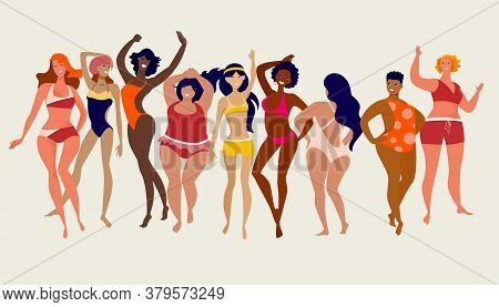 Multiracial Women Of Different Height, Figure Type And Size Dressed In Swimsuits Dancing Anfd Standi