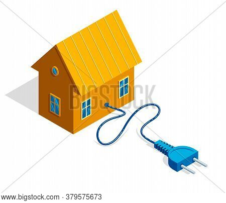 Small Cottage House With Electric Plug 3d Isometric Vector Illustration Or Icon Isolated On White.