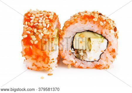 Sushi Roll (california) With Crab Meat, Avocado, Cucumber Inside And Masago (smelt Roe) Outside Isol