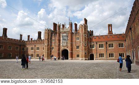 Hampton Court / London, Uk - 30 June 2014: The Royal Castle Of Hampton Court. Landmark In London. En