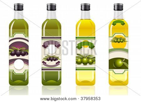 Four Olive Oil Bottles