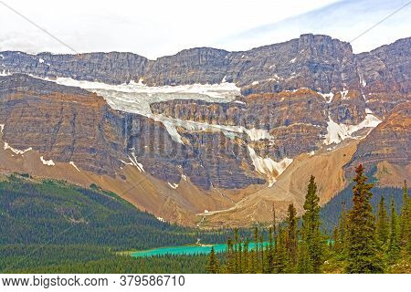 Alpine Crowfoot Glacier High On An Eroded Mountain Ridge In Banff National  Park In Alberta, Canada