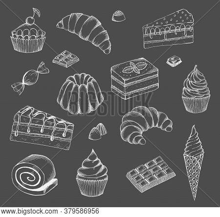 Hand Drawn Desserts Vector Set. Desserts Bakery Shop Vector Banner Template. Hand Drawn Cakes Bun, I