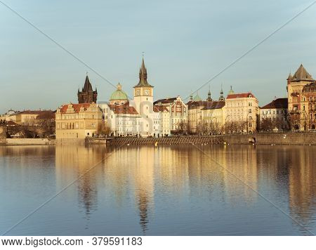 Prague, Old Town Waterworks At Novotny Lavka - Deceber 11, 2019: Prague, Riverside In Autumn. Charle