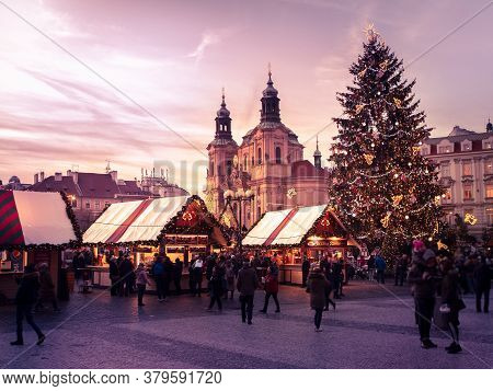 Prague, Czech Republic - December 11, 2019: Old Town Square Markets, Decorated For Holidays, Prague,
