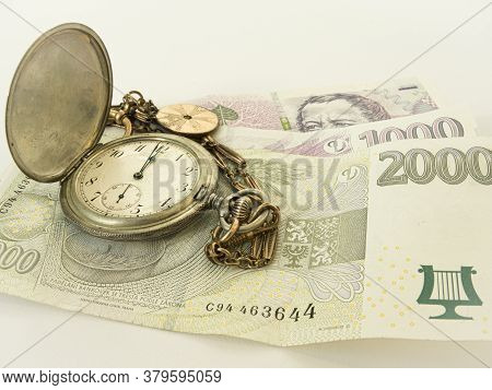 Antique Pocket Watch And Czech Banknotes, Time Is Money