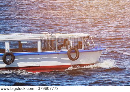 Pleasure Boat Sailing Without Passengers By Sea.