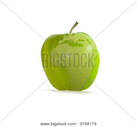Green Apple With Earth