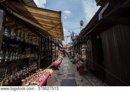 Sarajevo, Bosnia - April 15, 2017: Narrow Street Of The Bascarsija District Of Sarajevo, With Typica