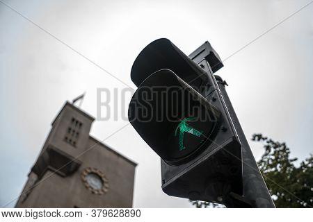 Pedestrian Green Light On A Traffic Light, Abiding By The Serbian And European Traffic Regulations,