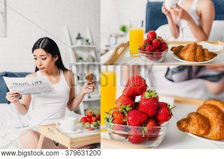 Asian Woman Reading Newspaper Near Breakfast On Breakfast Tray On Bed