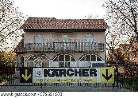 Belgrade, Serbia - April 7, 2019: Karcher Logo In Front Of Their Main Retailer For Belgrade. Karcher