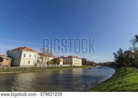 Austro Hungarian Buildings In The Center Of Zrenjanin, Next To The Bega Begej River. Zrenjanin Is A