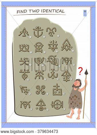 Logic Puzzle Game For Children And Adults. Help The Primitive Man Find 2 Identical Ancient Magic Hie