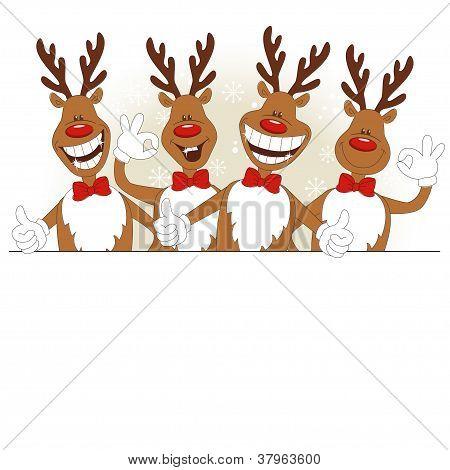 Vector illustration of cartoon Christmas deer