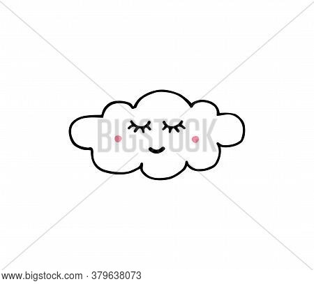 Vector Hand Drawn Doodle Sketch Cloud With Face Isolated On White Background
