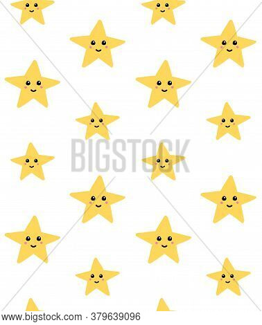 Vector Seamless Pattern Of Hand Drawn Doodle Sketch Star With Face Isolated On White Background