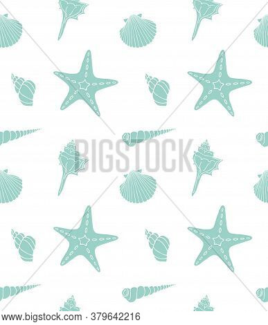 Vector Seamless Pattern Of Mint Hand Drawn Doodle Sketch Shell And Sea Stars Isolated On White Backg