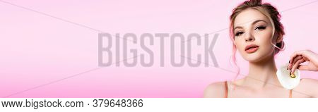 Elegant Beautiful Blonde Woman Holding Calla Flower On Shoulder Isolated On Pink, Panoramic Shot