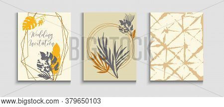 Abstract Vintage Vector Banners Set. Noble Olive Leaves Invitation Template. Geometric Border Patter
