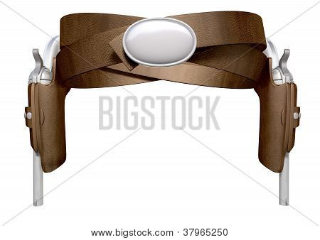 Pistols In A Leather Holster