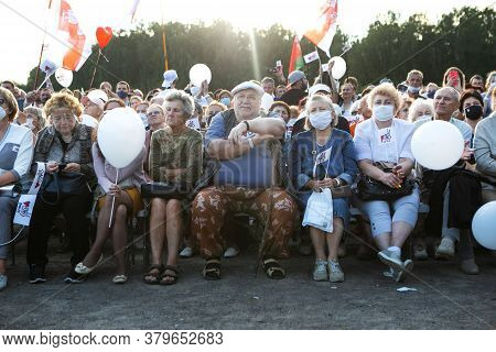 Minsk/belarus - July 30, 2020: Pensioners In The Park At Opposition Rally In Minsk On July 30, 2020.